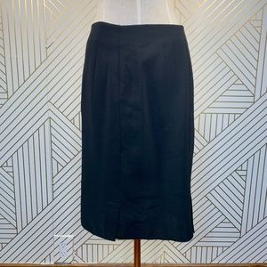 Akris Black Wool Side Zip Pencil Skirt Career